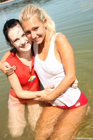 Cute Euro teens get naked at the beach and give lesbian sex a try