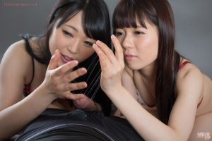 Sweet young Asian teen girls tease a cock until it explodes for a quick taste