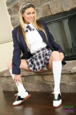 Schoolgirl with huge juggs Jessie Jolie rides a fat boner on a couch