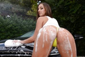 Big ass European babe Amirah Adara getting her booty wet and soapy