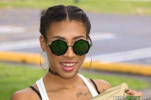 Beautiful skinny ebony babe Kendall Woods plays and flies a kite outside