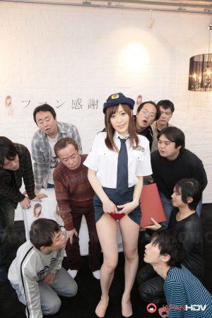 Japanese police force slut flashes naked upskirt before bad guy gangbang