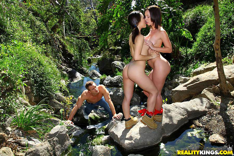 Gorgeous Kristina and friend show round ass and facesit in outdoor groupsex