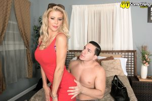 Hot blonde cougar Alexis Fawx is free from a dress by her younger lover