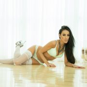 Hottie in white stockings Breanne Benson gets naughty in the mansion
