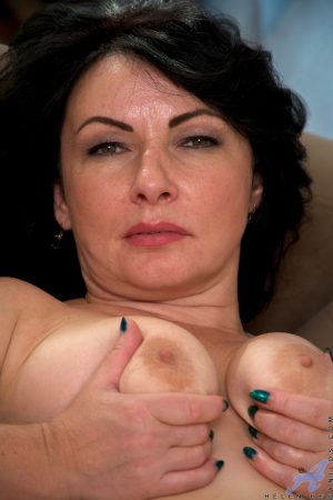 Gorgeous MILF Helen He showing her saggy tits & shaved pussy in stockings
