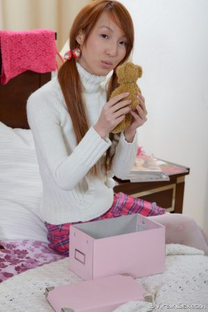 18 year old Asian redhead drips cum from pussy after getting banged