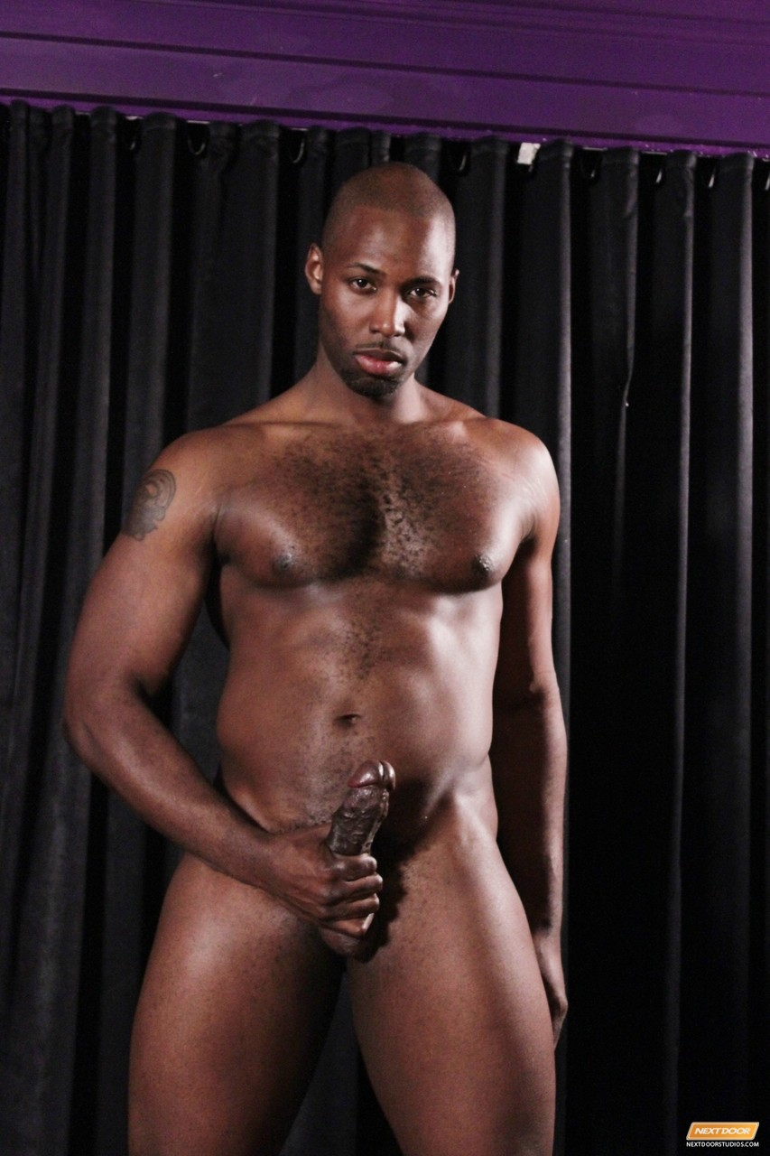 Hung dudes flaunt their stocky bodies before having an interracial anal 3some