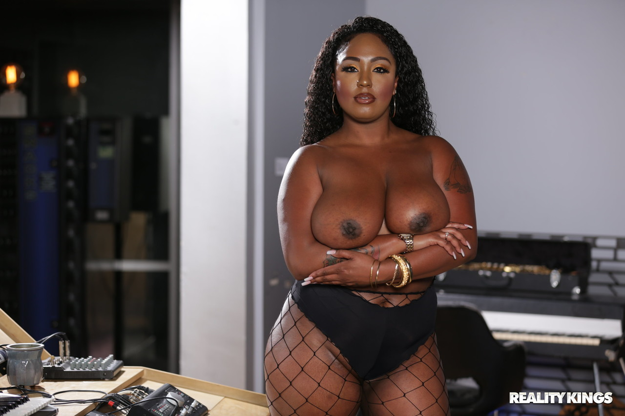 Ebony Layton Benton gets her black pussy and boobs fucked at the music studio