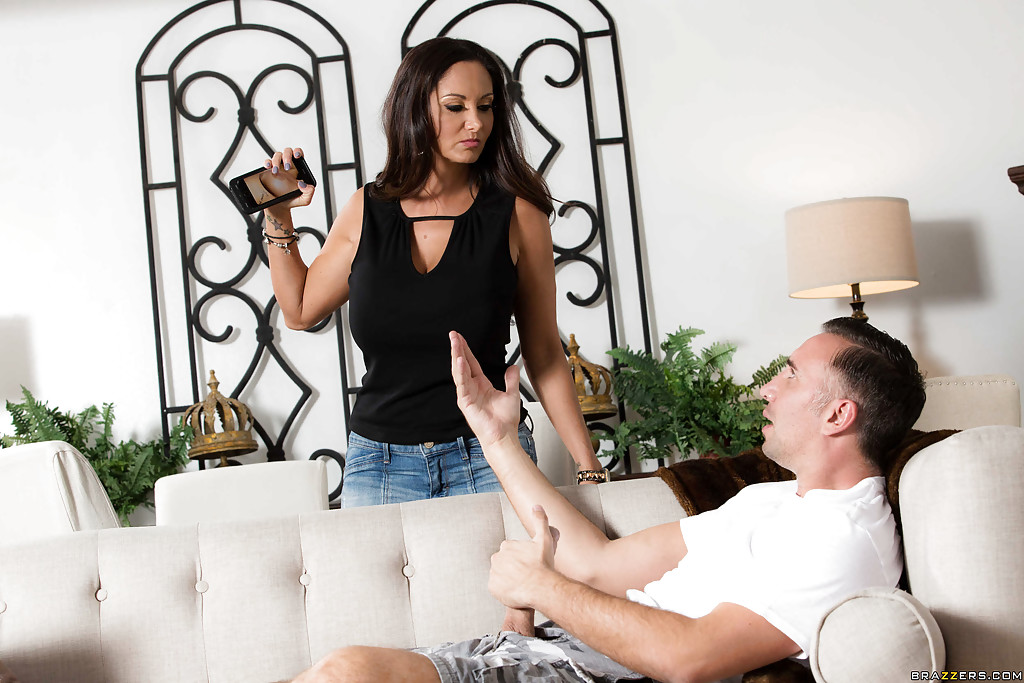 European MILF Ava Addams giving CFNM BJ before banging big dick on couch