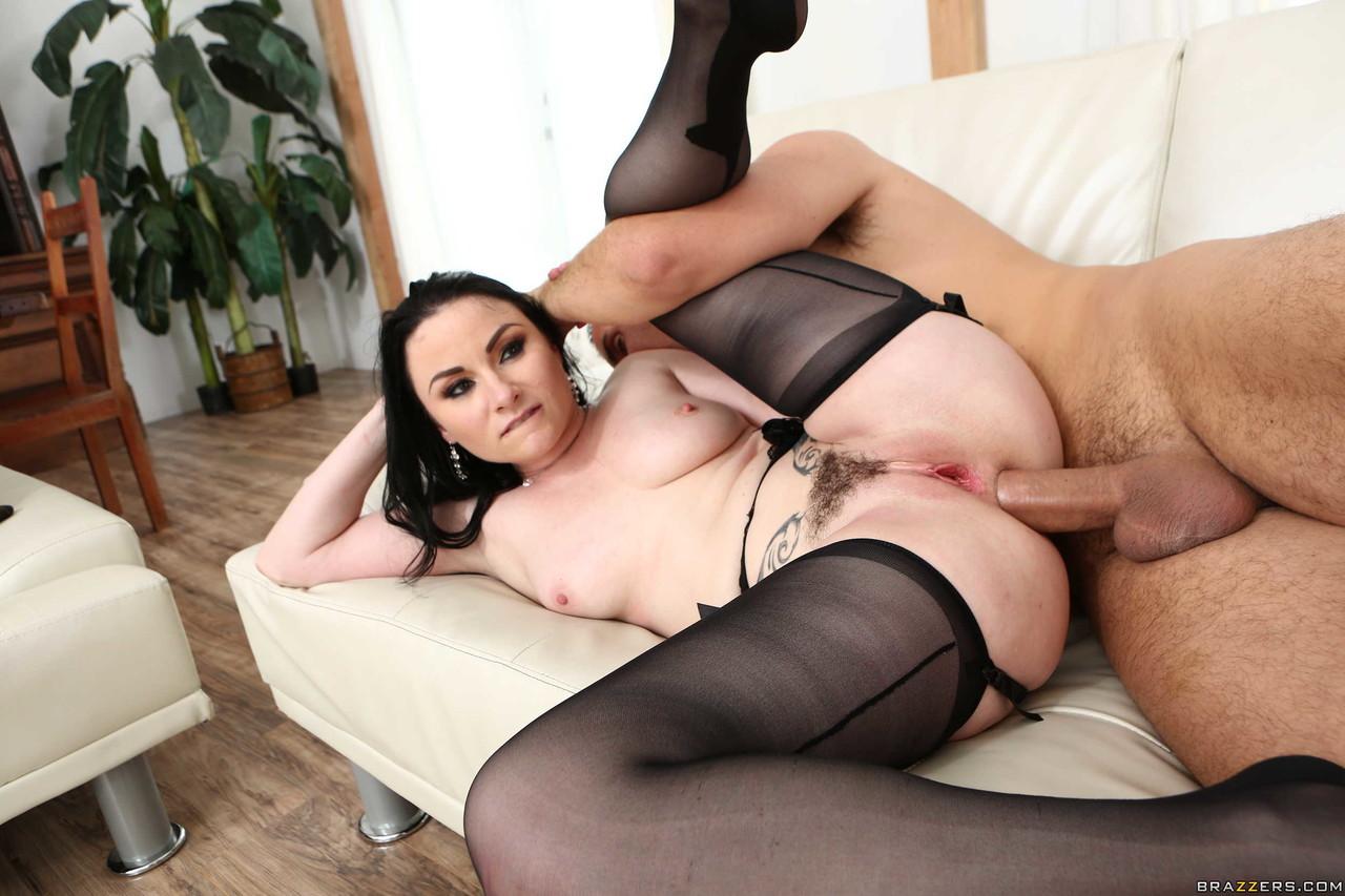 Wife in black stockings Veruca James gets anally spooned by man she met online
