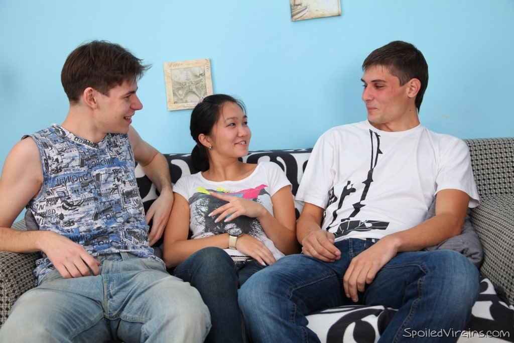 Asian amateur Natalie loses her virginity to white boys after an examination