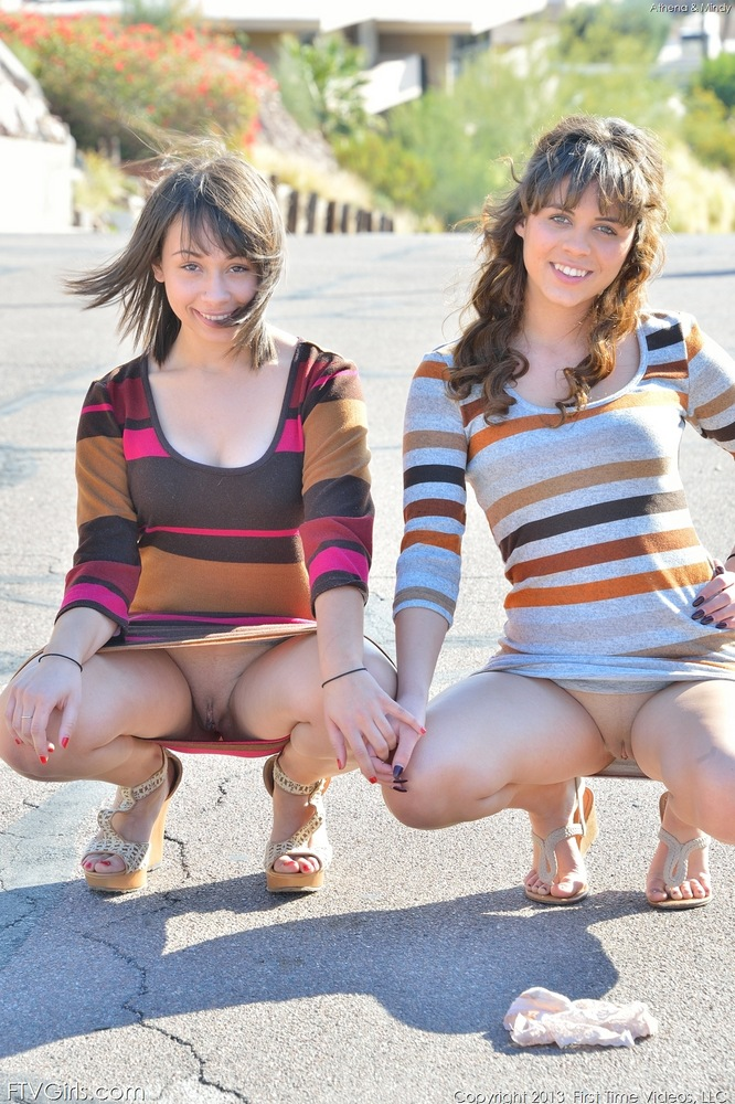 Real teen lesbians flash their bare asses and vaginas outside and kiss