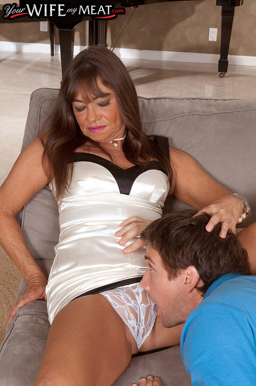Husband leaves tanned wife alone with young worker and lets them fuck in ass