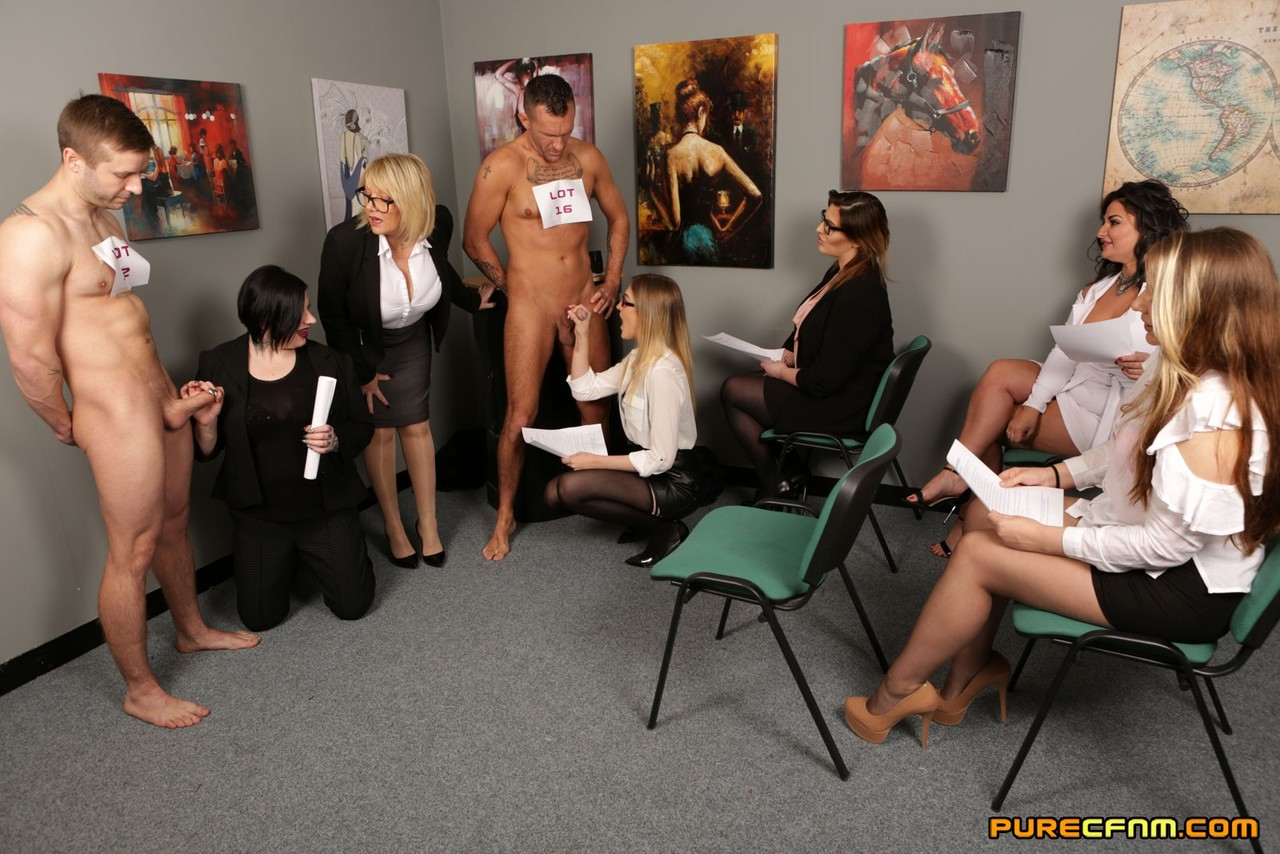 Horny office sluts interview naked stud for service job in reverse gangbang