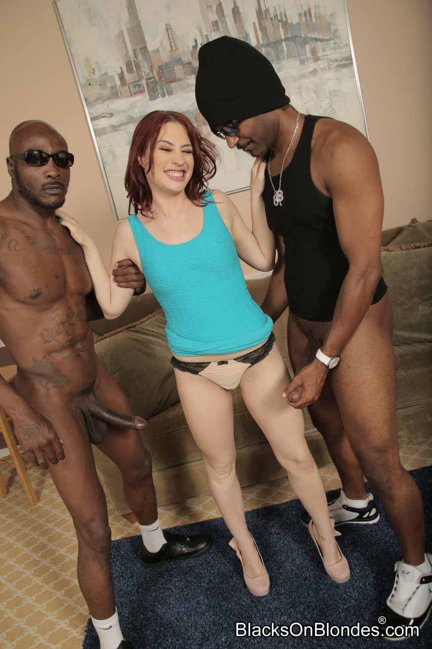 Redheaded wife Jessica Ryan strips and gets nailed by two big black dongs