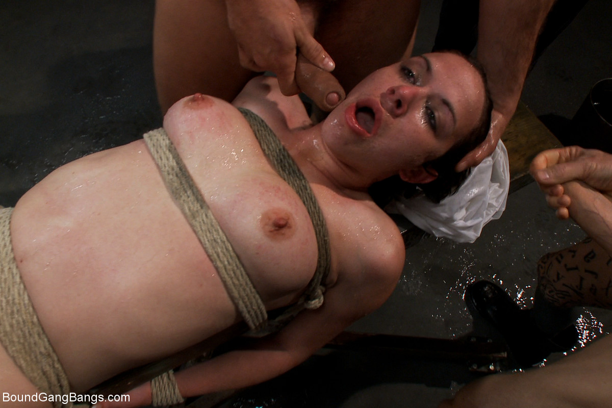 Dirty amateur Nicole Ryder gets bound and gangbanged by bunch of men