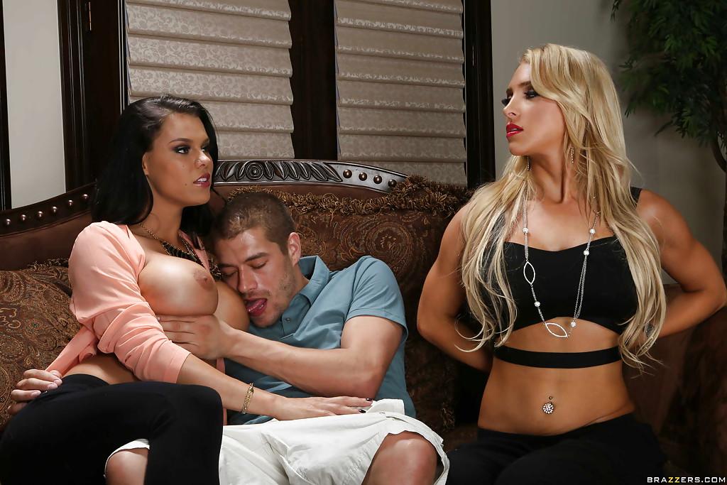 Big tit pornstars Alix Lynx and Peta Jensen having a kinky threesome