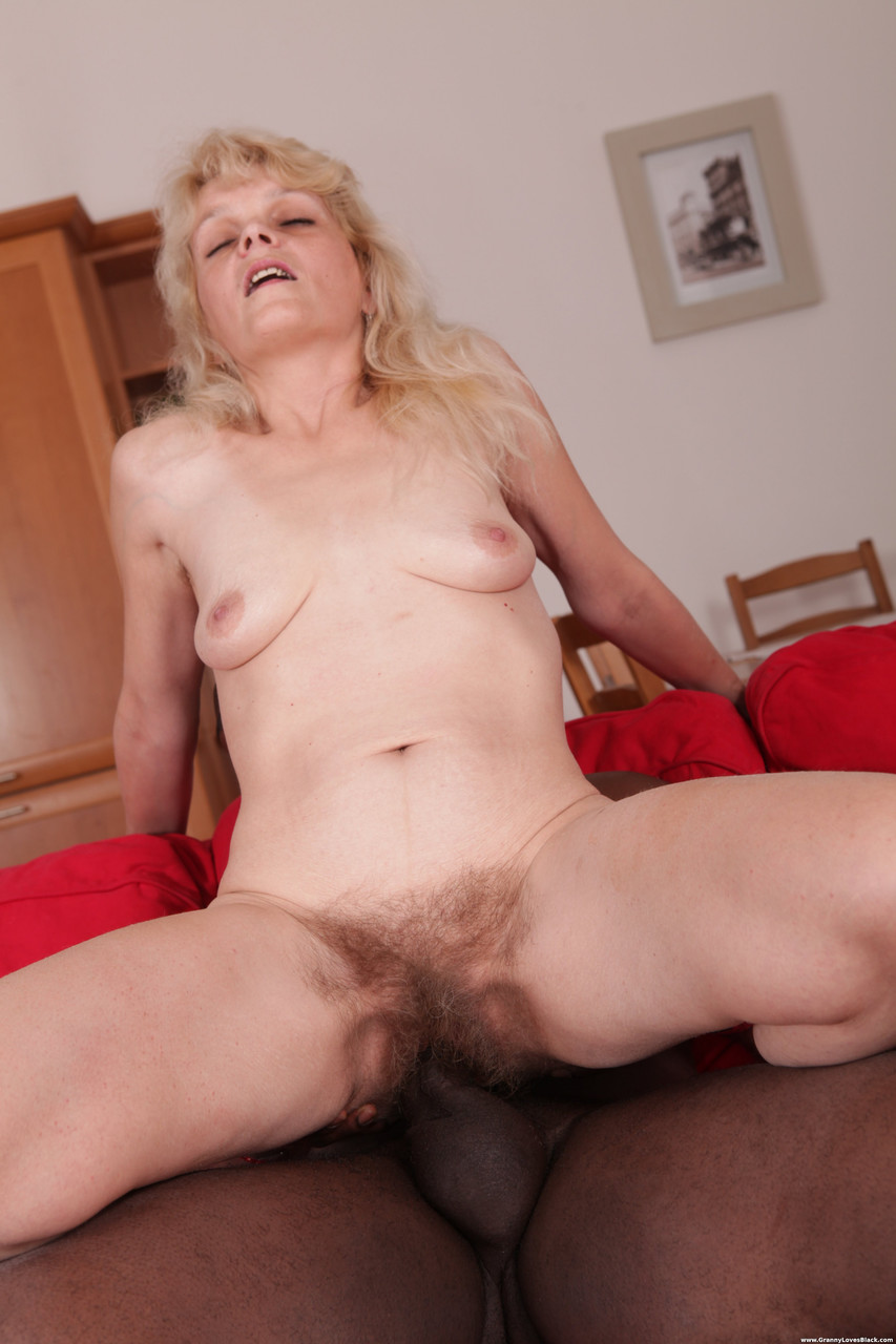 Granny Evelin rides her hairy vagina on a black shaft and blows it well