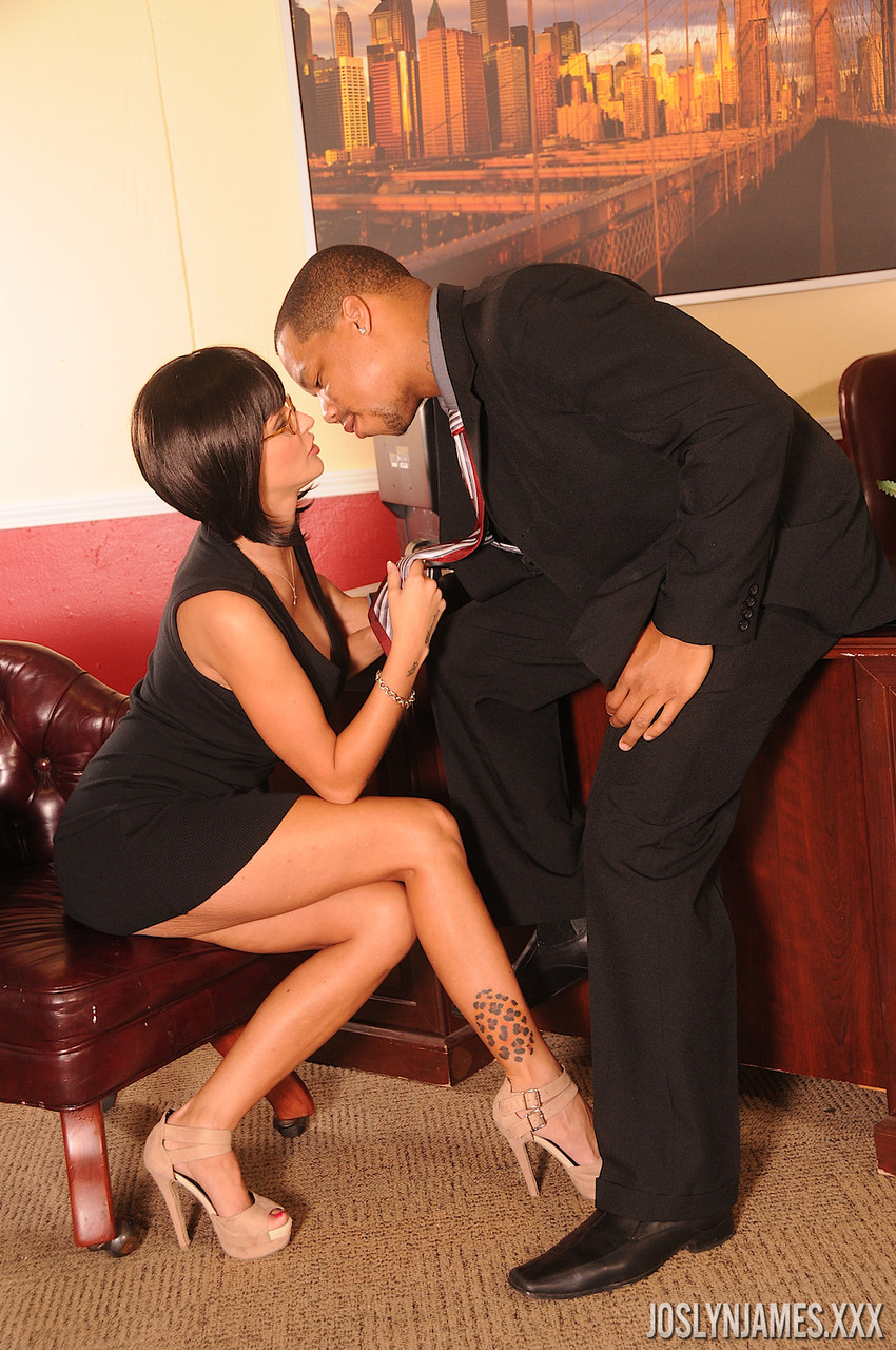Secretary with big fake tits Joslyn James gets pounded by her black boss