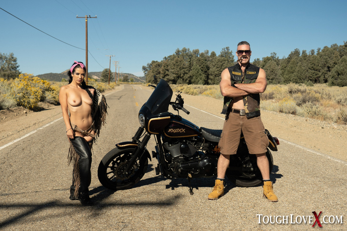 Latina chick Katrina Jade bangs a biker in the great outdoors and a hotel room