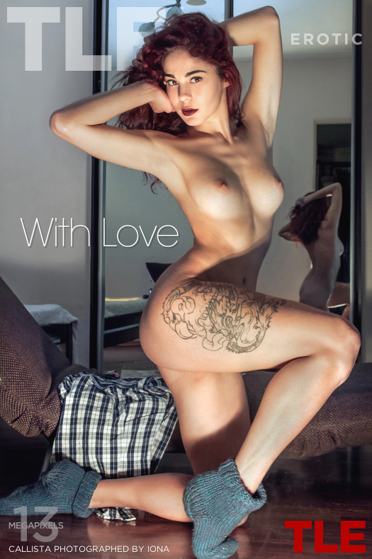 Redhead tattooed beauty Calista shows a closeup of her shaved pussy