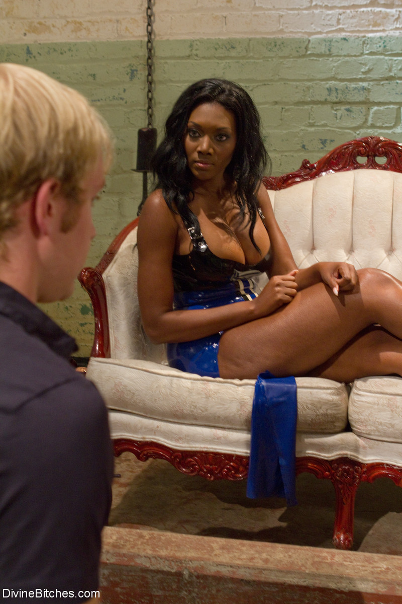 Black girl with a big bosom Nyomi Banxxx tortures her white sex slave