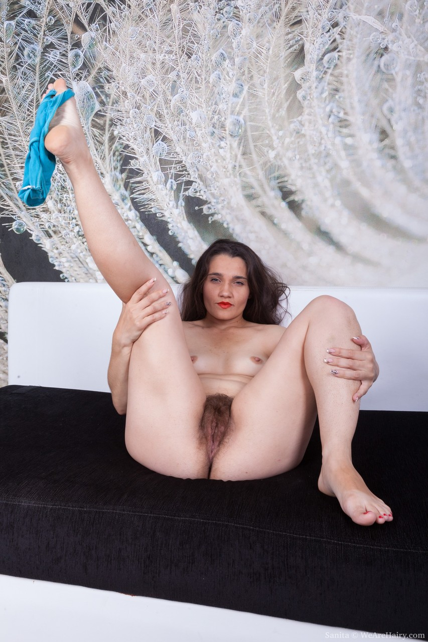 Lovely amateur lady Sanita removes her cute dress and displays her bushy twat