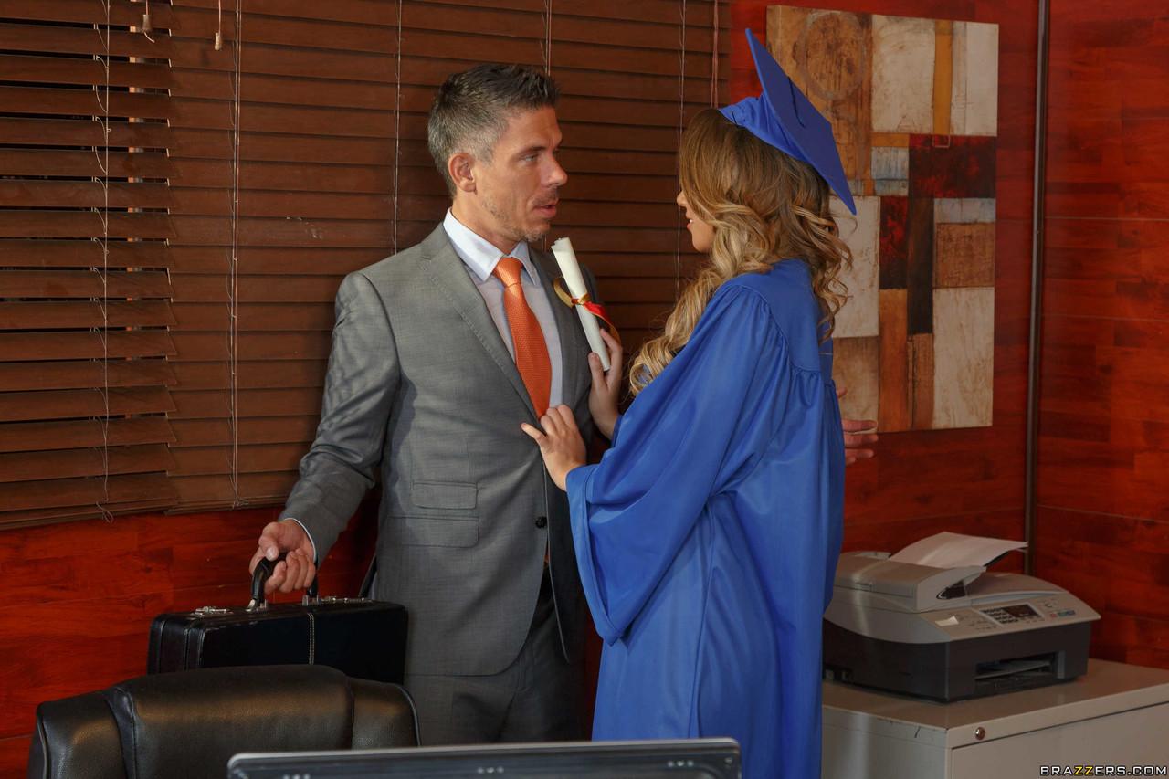 Schoolgirl Alexis Adams gets fucked by professor Mick on her graduation day