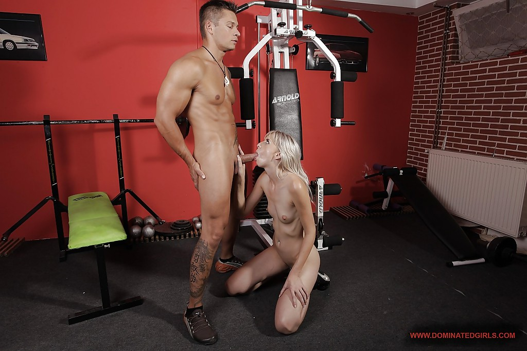 Slutty blonde White Angel gets dominated and screwed in the gym