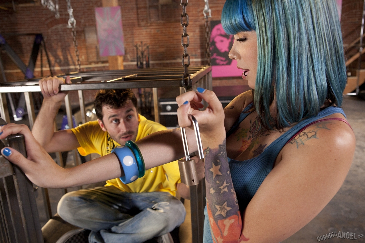 Blue haired emo girl Krysta Kaos frees caged sub for ass to mouth facial