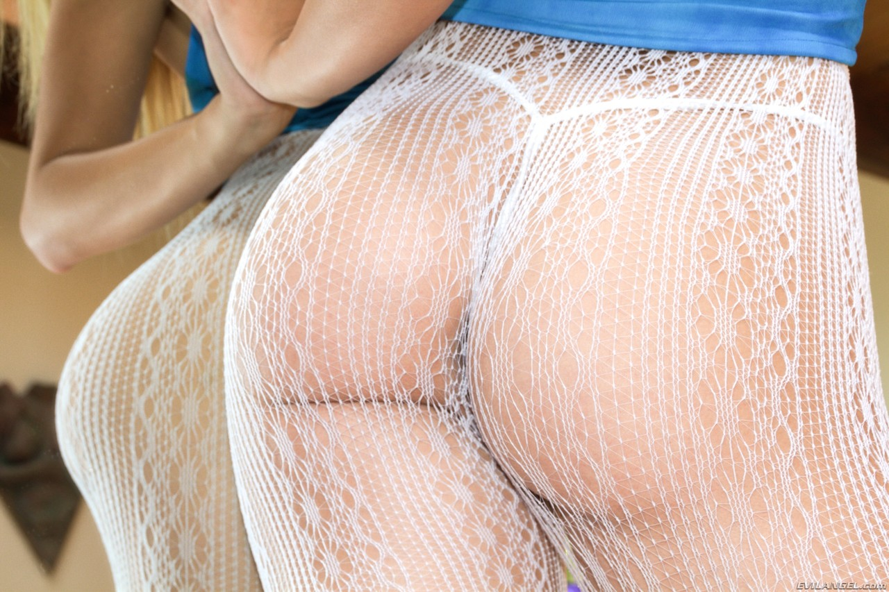 Hot females showing off their covered round asses in hose and latex pants
