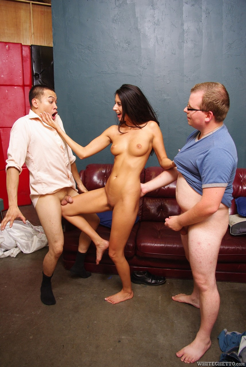 White chick Nikki Daniels bangs a white dude in front of cuckolded Asian hubby