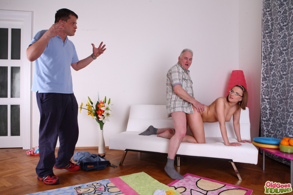 Nerdy teen has a threesome with her boyfriend and his old stepfather