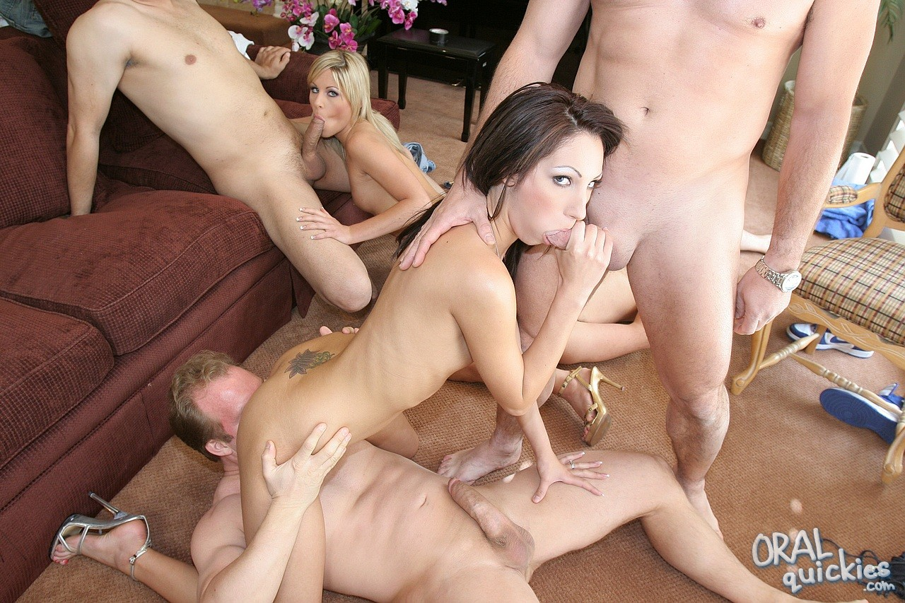 Brunette Chloe Morgan and blonde Courtney Simpson fucked by group of men