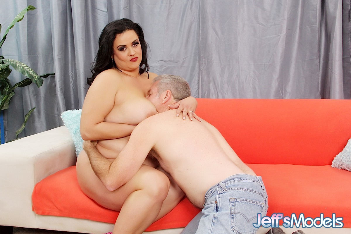 SSBBW Allision Broadway holds her saggy boobs for a cumshot after fucking